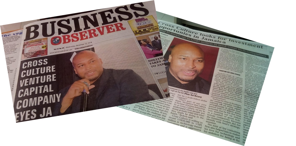 Marlon Nichols featured on the cover of The Jamaica Observer