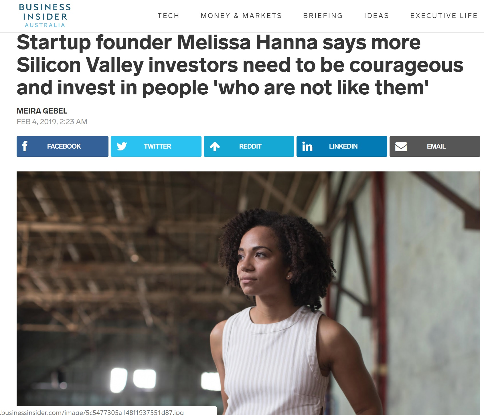 Startup founder Melissa Hanna says more Silicon Valley investors need to be courageous and invest in people 'who are not like them'